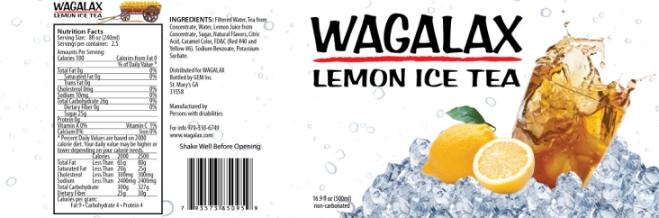 Wagalax® Lemon Ice Tea in Bottles